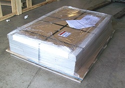 Pallet ready for shipping at Trench Drain Systems