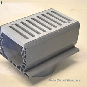 """NDS2351 4"""" bottom outlet for Spee-D Channel w/slotted grate"""