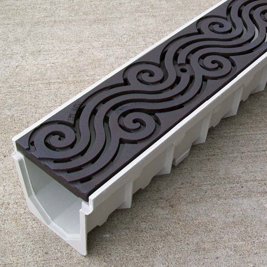 5 mearin 100 driveway drainage kit w cast iron grates for Driveway trench drain