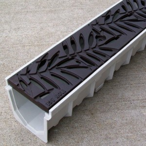 Mearin 100 Driveway Drainage Kit w/Locust cast iron grate - baked on oil finish