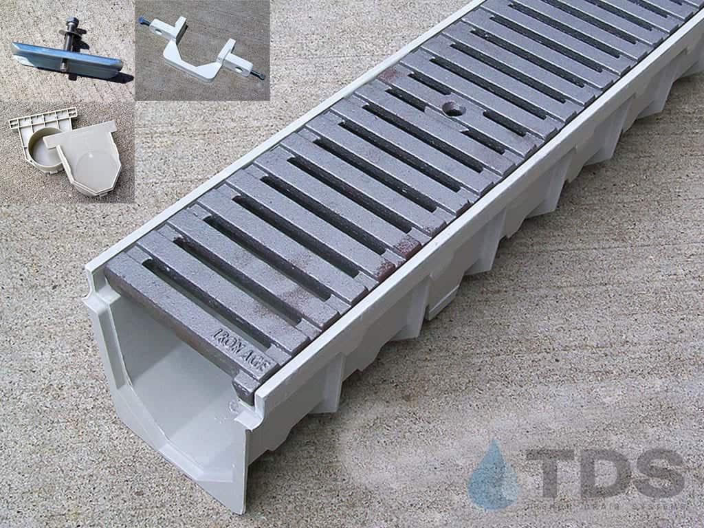 MEArin 100 Drain Channel with Cast Iron Regular Joe Grate