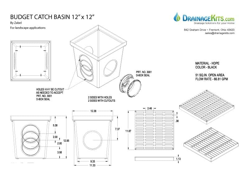 Residential catch basin kit with plastic grate 12 x 12