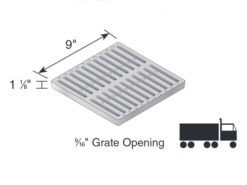 Catch Basin Kit with Ductile Iron Slotted Grate 9″ x 9″