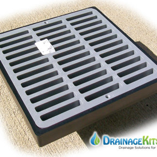 9x9 low profile catch basin kit slotted grate - grey
