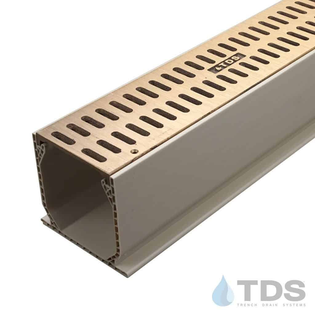 """Brushed Bronze Slotted Grate with 3"""" Sand Mini Channel MCKS-TDS560-B-TDSdrains"""