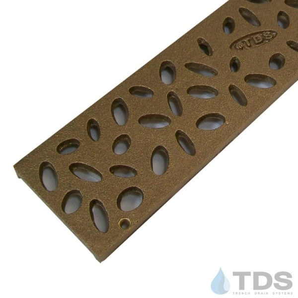 Trench Drain Systems natural bronze raindrop grates for NDS mini channel