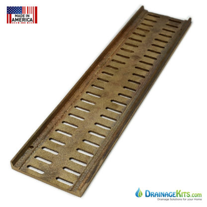 Slotted bronze Mini Channel grate - back