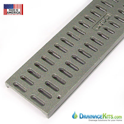 Aluminum slotted grate for NDS Mini Channel drain system.