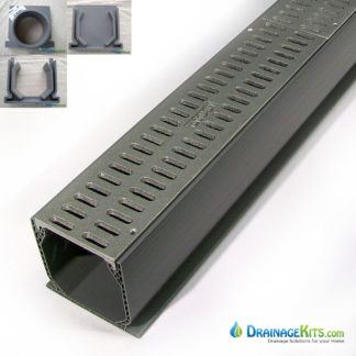 Aluminum grate Mini Channel Kit - slotted natural