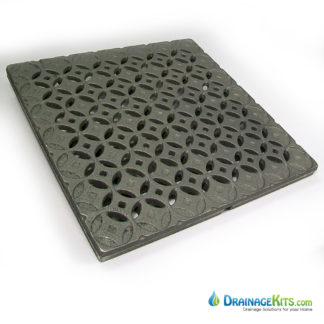 Iron Age 18x18 cast iron catch basin grate - Interlaken pattern