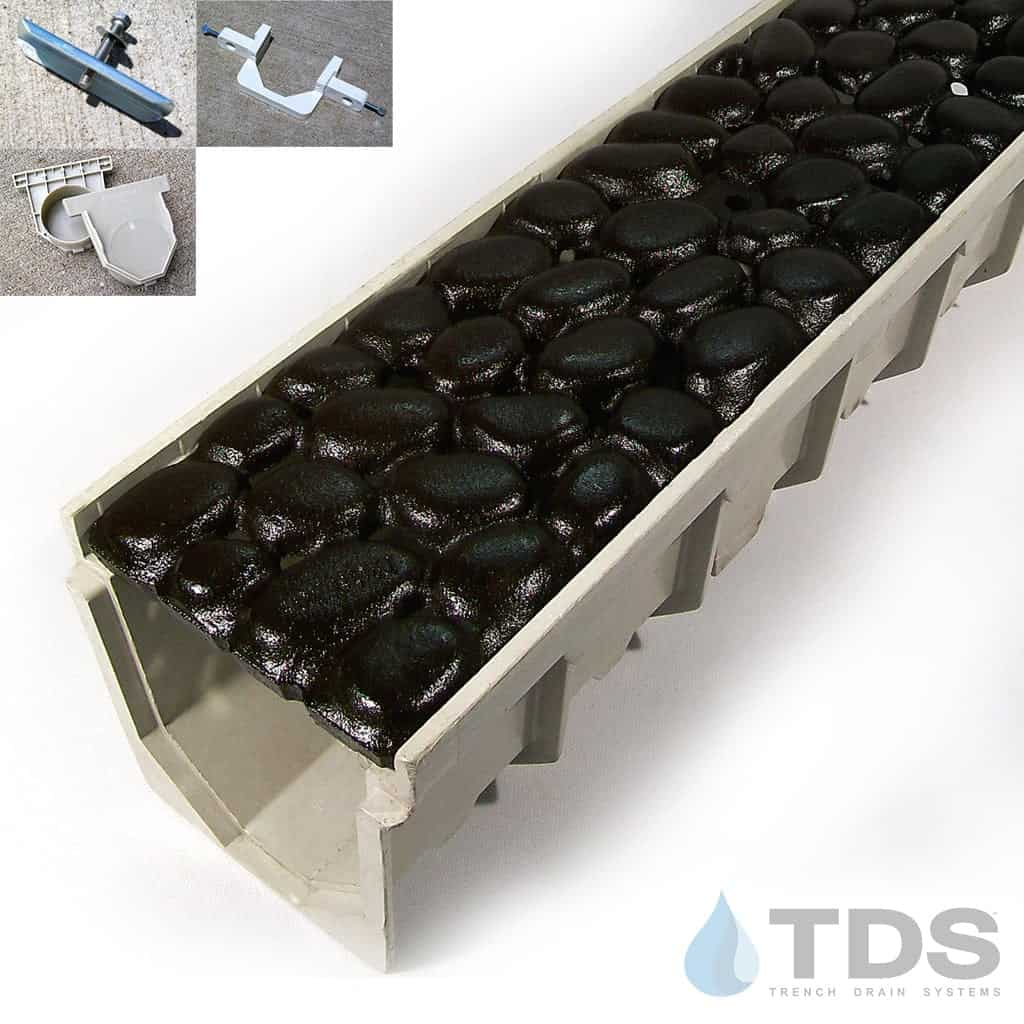 MEArin 100 Driveway Drainage Kit with Cast Iron BoOF River Rock Grate