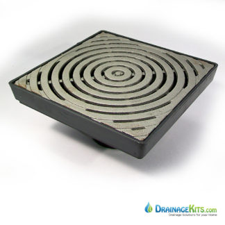 "Low Profile catch basin kit with the Bullseye pattern cast iron grate 12"" x 12"""