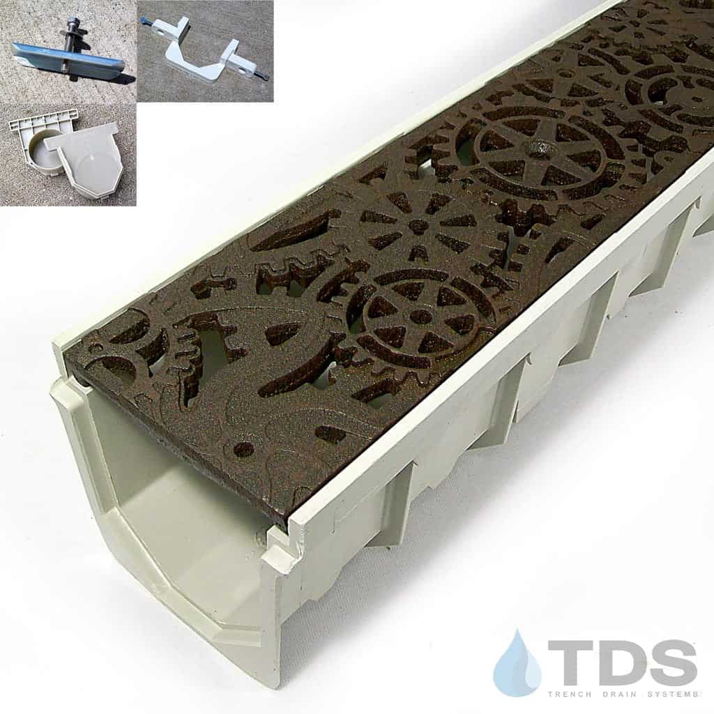 """5"""" MEArin100 Channel with Dynamo Pattern Cast Iron BoOF Grate"""