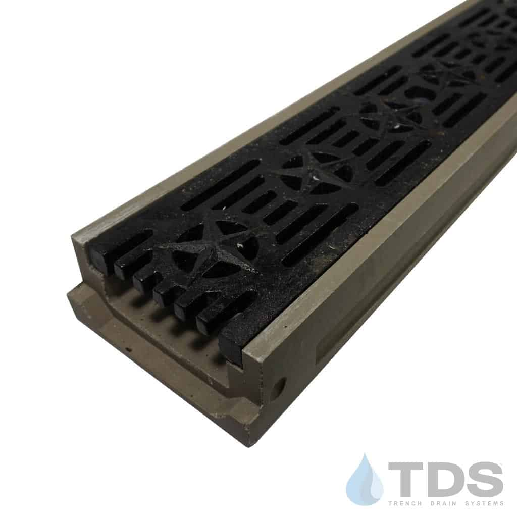 POLY500-PE-692-TDSdrains shallow polymer concrete channel cast iron patriot grate