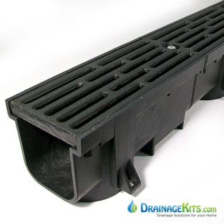 Heavy Duty Driveway Drainage Kit w/ductile iron grate - blk channel