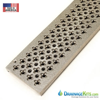 "Aluminum grate for NDS 3"" Mini Channel drain system - Cathedral pattern"