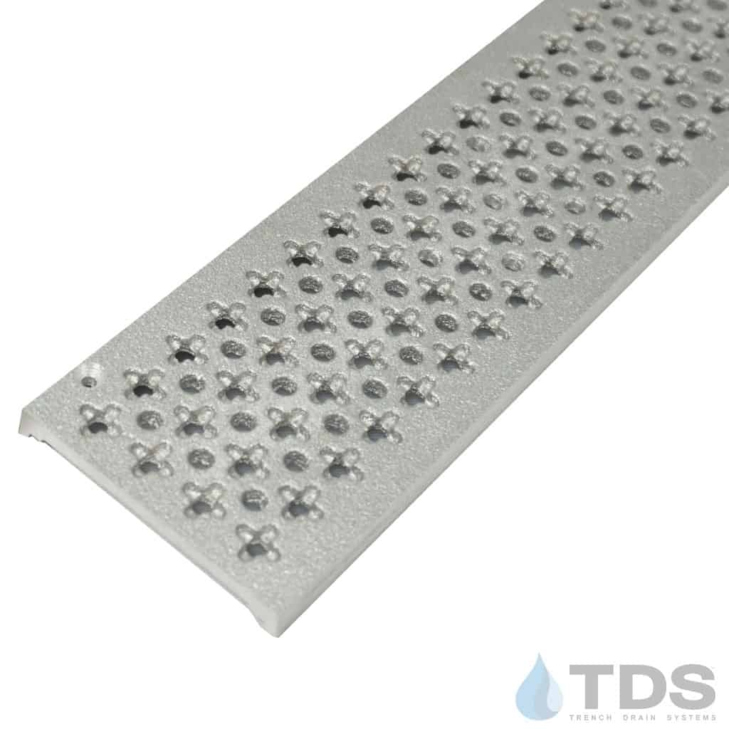 Trench Drain Systems natural aluminum cathedral grates for NDS mini channel