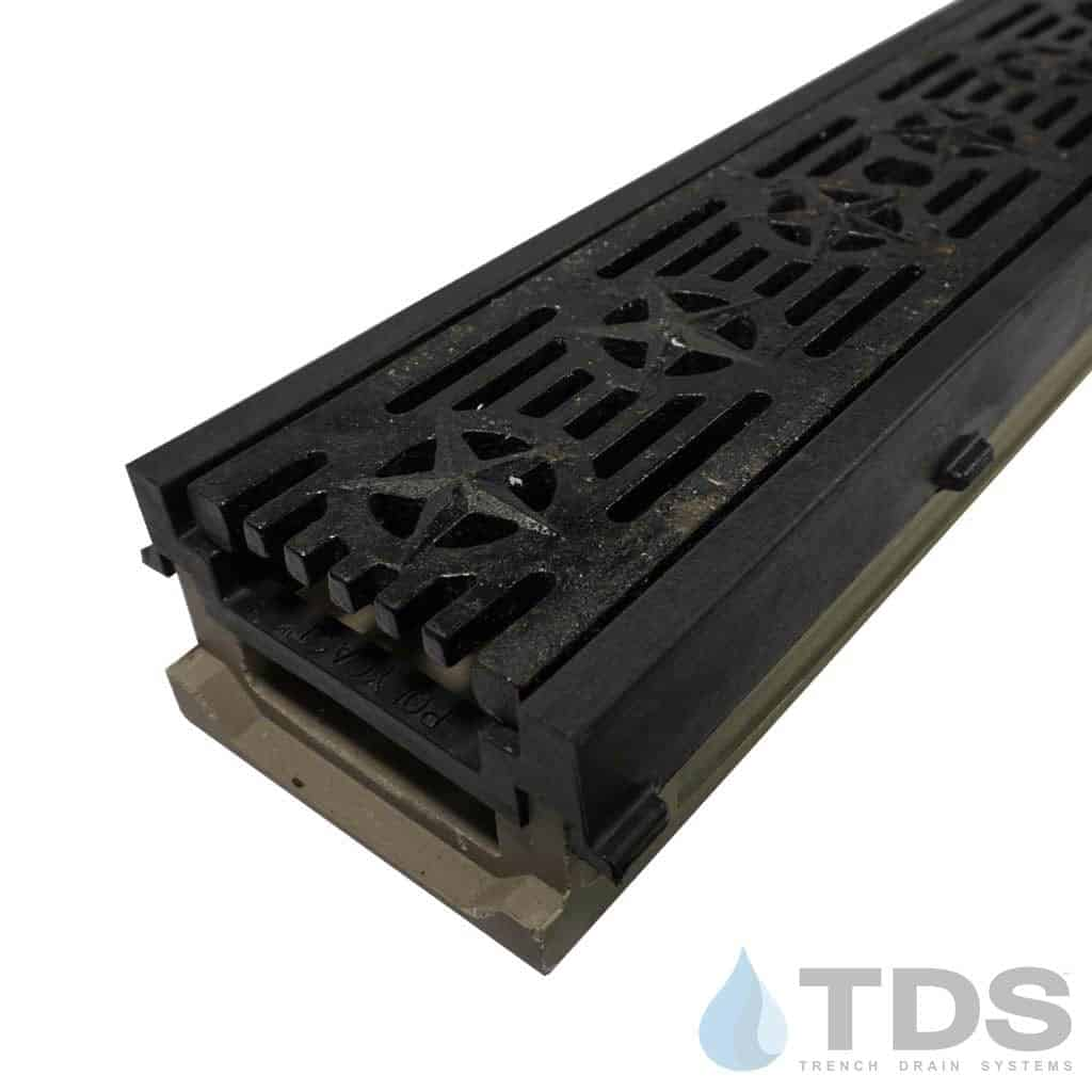 POLY500-PE-692-TDSdrains HPDE frame cast iron patriot grate shallow polymer concrete channel