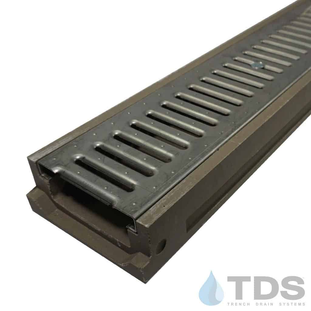POLY500-xx-647-TDSdrains stainless steel slotted grate shallow POLYCAST polymer concrete channel