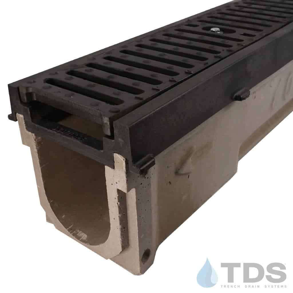 POLY700-PE-641D-TDSdrains HPDE frame ductile iron slotted grate polymer concrete channel Polycast
