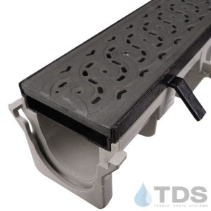 NDS-Dura-DI-601-TDSdrains cast iron frame HPDE channel cast iron weave grate NDS