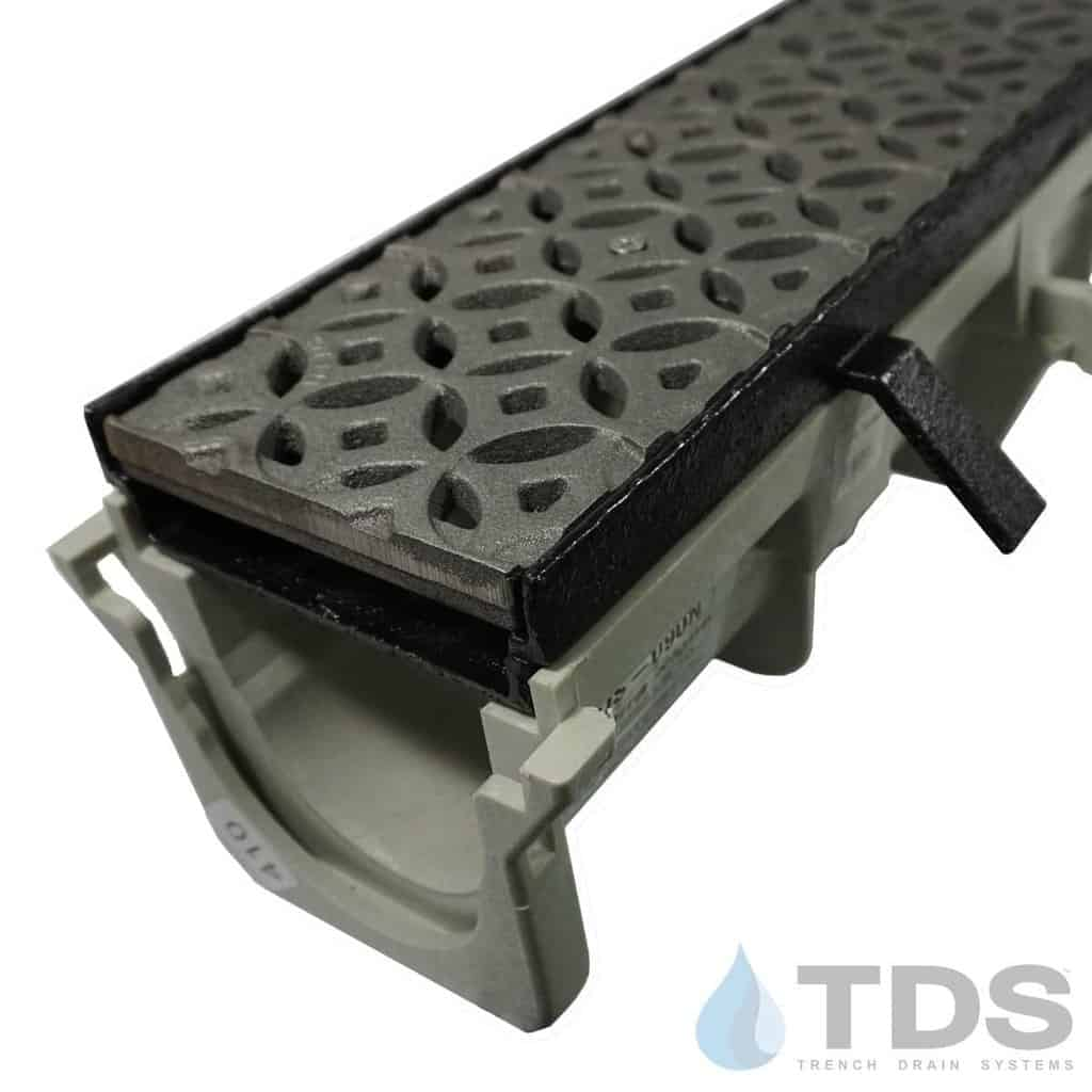 NDS-Dura-DI-Int-TDSdrains cast iron frame Iron Age Interlaken grate HDPE channel NDS
