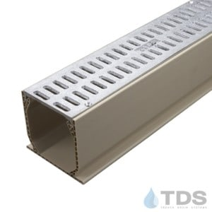 """Aluminum Slotted Grate with 3"""" NDS Mini Channel MCKS-TDS561-TDSdrains"""