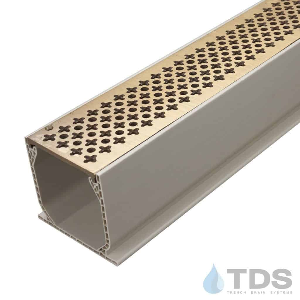 MCKS-TDS570-B-TDSdrains Sand Mini Channel with Deco Cathedral Bronze Grate