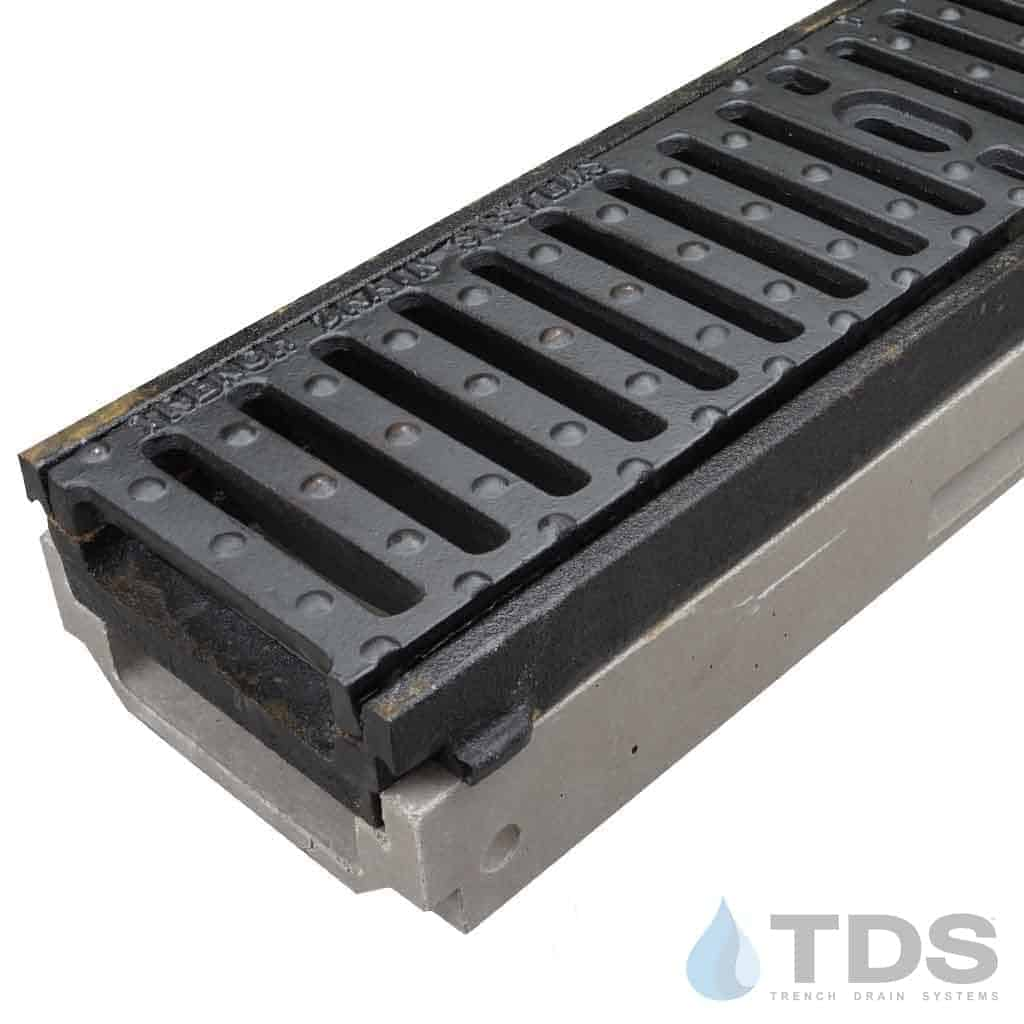 POLY500-AA-641D cast iron frame slotted ductile iron grate polymer concrete shallow channel Polycast