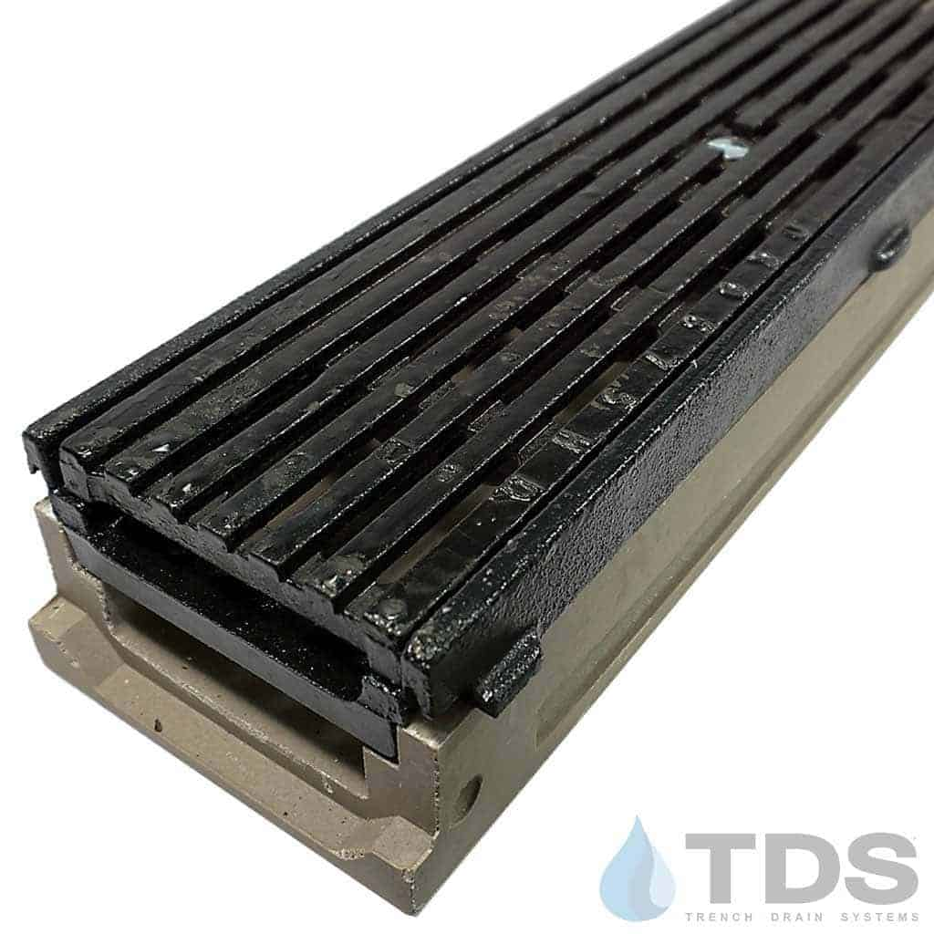 POLY500-AA-675D-TDSdrains cast iron frame cast iron transverse ada slotted grate shallow POLYCAST polymer concrete channel