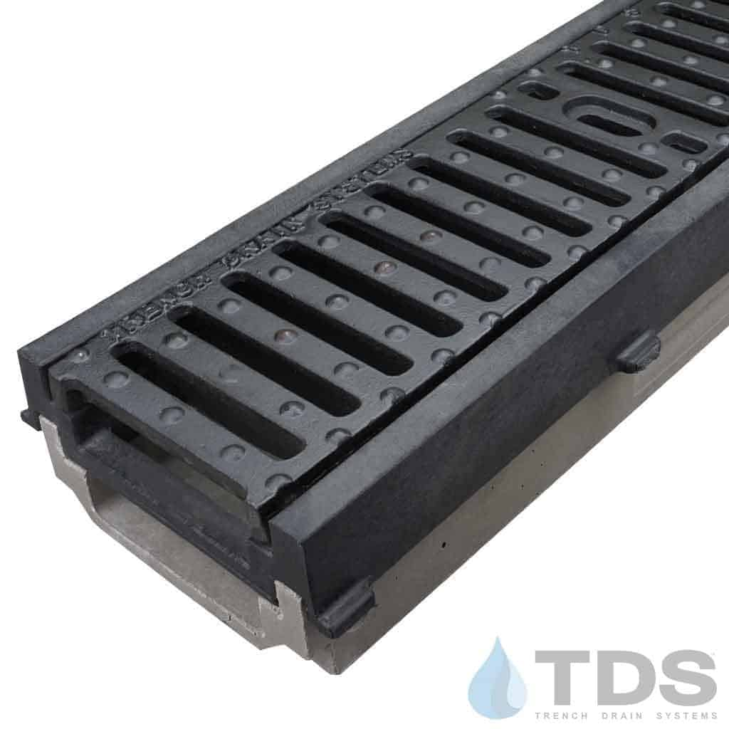 POLY500-PE-641D-TDSdrains HPDE frame ductile iron slotted grate POLYCAST shallow polymer concrete channel