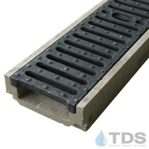 POLY500-xx-641-TDSdrains ductile iron slotted grate shallow POLYCAST polymer concrete channel