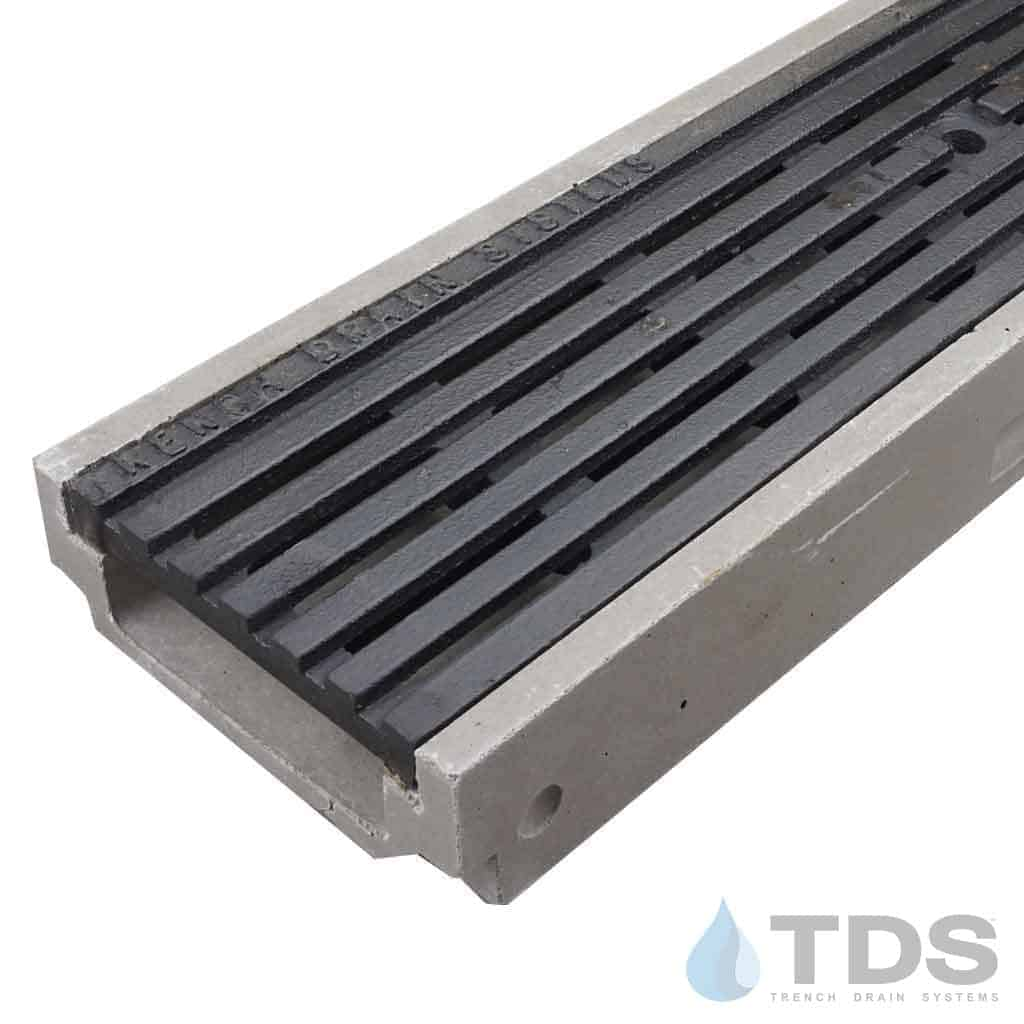 POLY500-xx-675HD cast iron transverse grate polymer concrete shallow channel Polycast