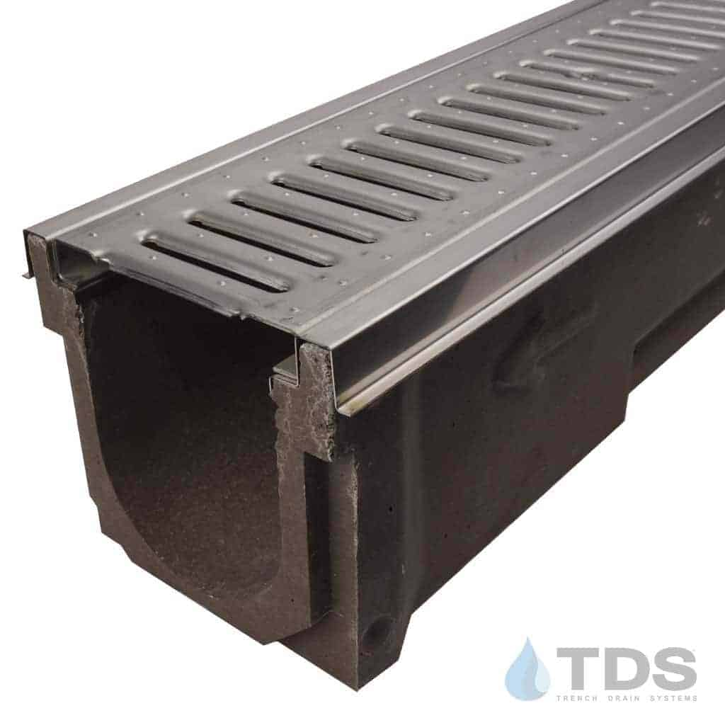 POLY600-SS-647-DK stainless steel edge stainless steel slotted grate polymer concrete channel Polycast