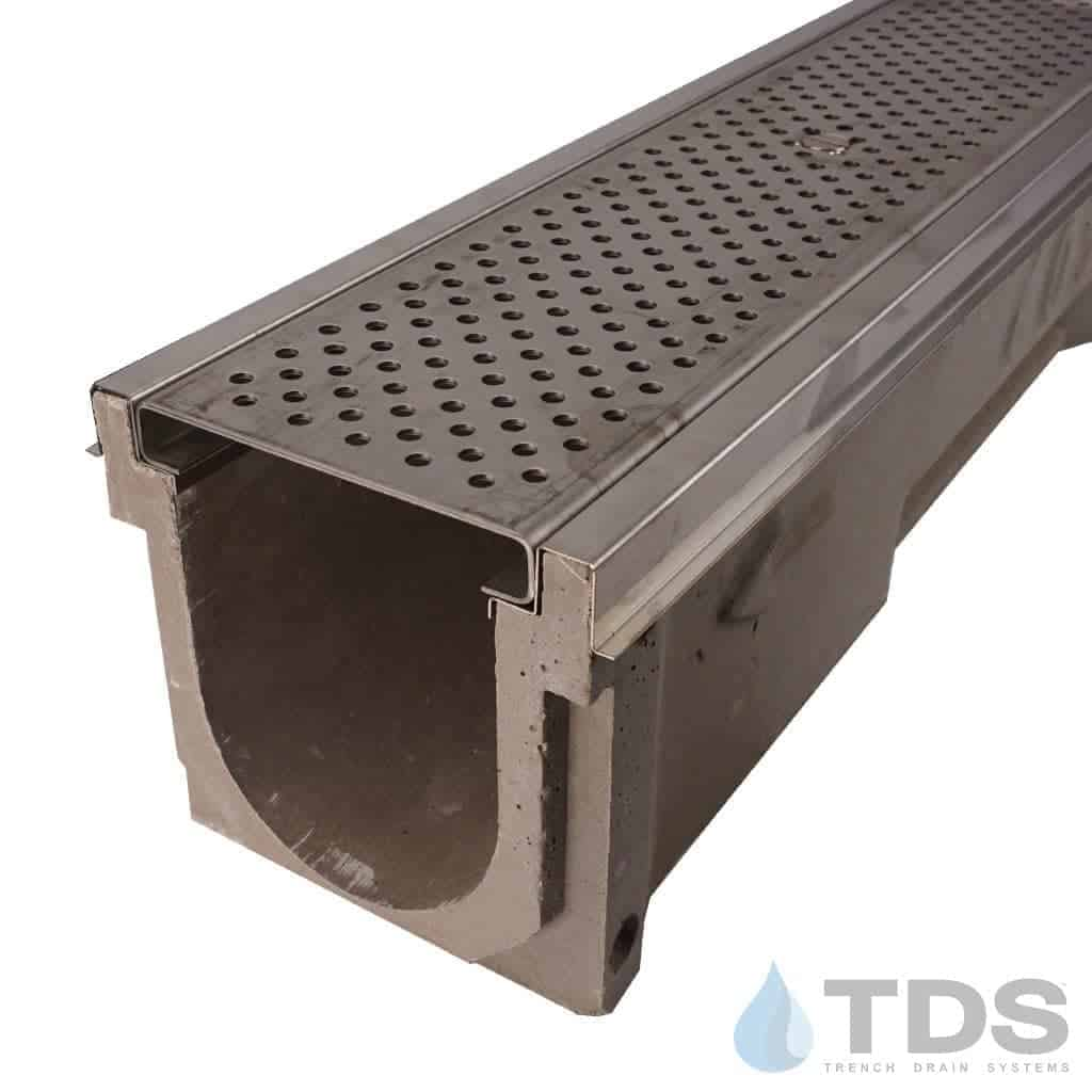 POLY600-SS-657-TDSdrains stainless steel perforated grate stainless edge polymer concrete channel Polycast