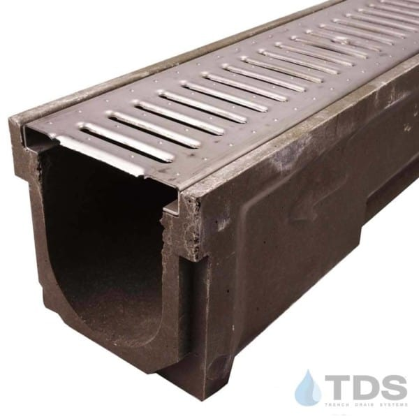 POLY600-xx-647-DK stainless steel slotted grate polymer concrete channel