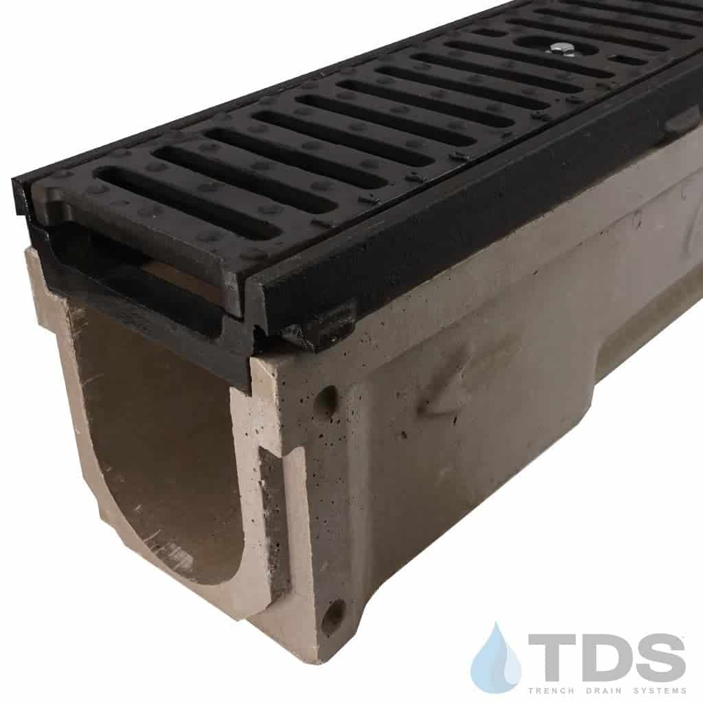 POLY700-AA-641D-TDSdrains Cast iron frame ductile iron slotted grate pre-sloped POLYCAST polymer concrete channel