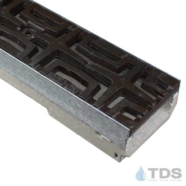 M100K-Carbochon-boof ironage cast iron deco grate polymer concrete shallow channel galv edge