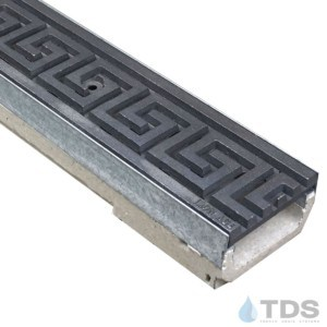 M100K-GreekKey Iron Age raw cast iron deco grate polymer concrete galv edge ULMA channel