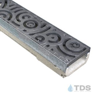M100K-Oblio Iron Age raw cast iron deco grate polymer concrete galv edge ULMA channel