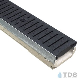 M100K-PNH100KCAM-BL Poly Black Heel-proof ADA grate polymer concrete galv edge low profile ULMA channel