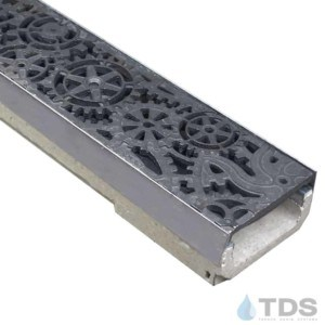 M100KX ULMA polymer concrete channel with stainless steel edge and Iron Age Raw Cast Iron Dynamo grate