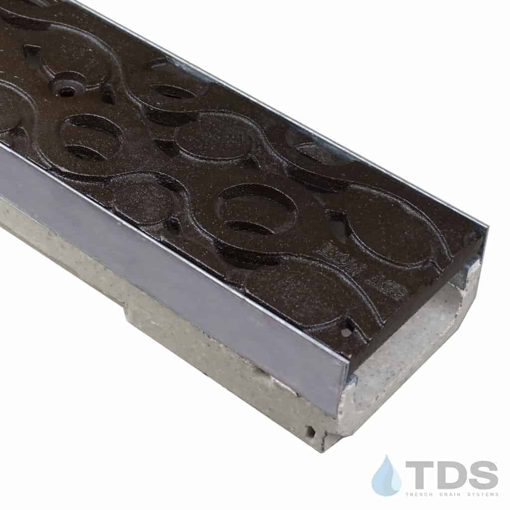 M100KX polymer concrete channel with stainless steel edge with Iron Age Baked on Oil Finish Cast Iron Janis grate
