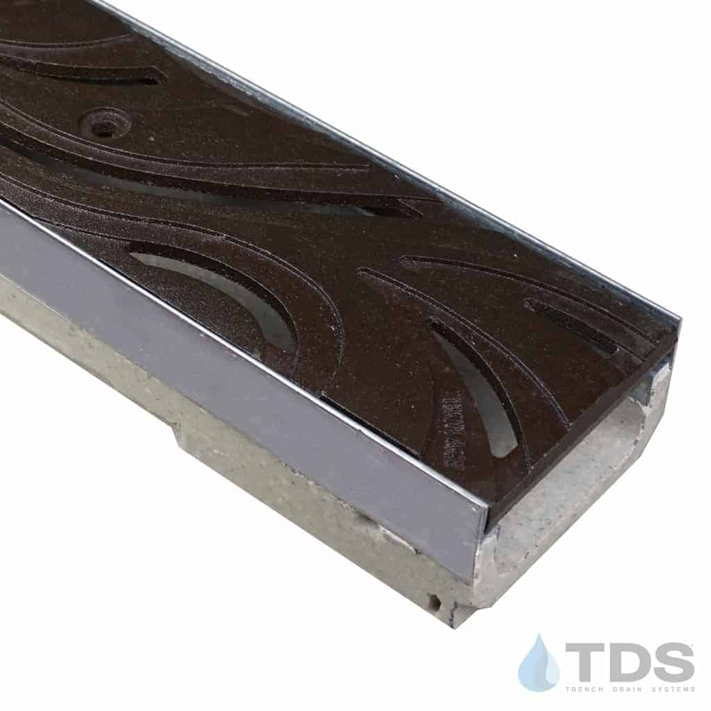 ULMA M100KX polymer concrete stainless steel edged channel with Iron Age Baked on Oil Finish Cast Iron Minnione grate