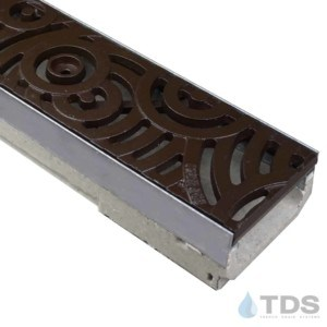 ULMA M100KX polymer concrete channel with stainless steel edge and Iron Age Baked on Oil Finish Cast Iron Oblio grate