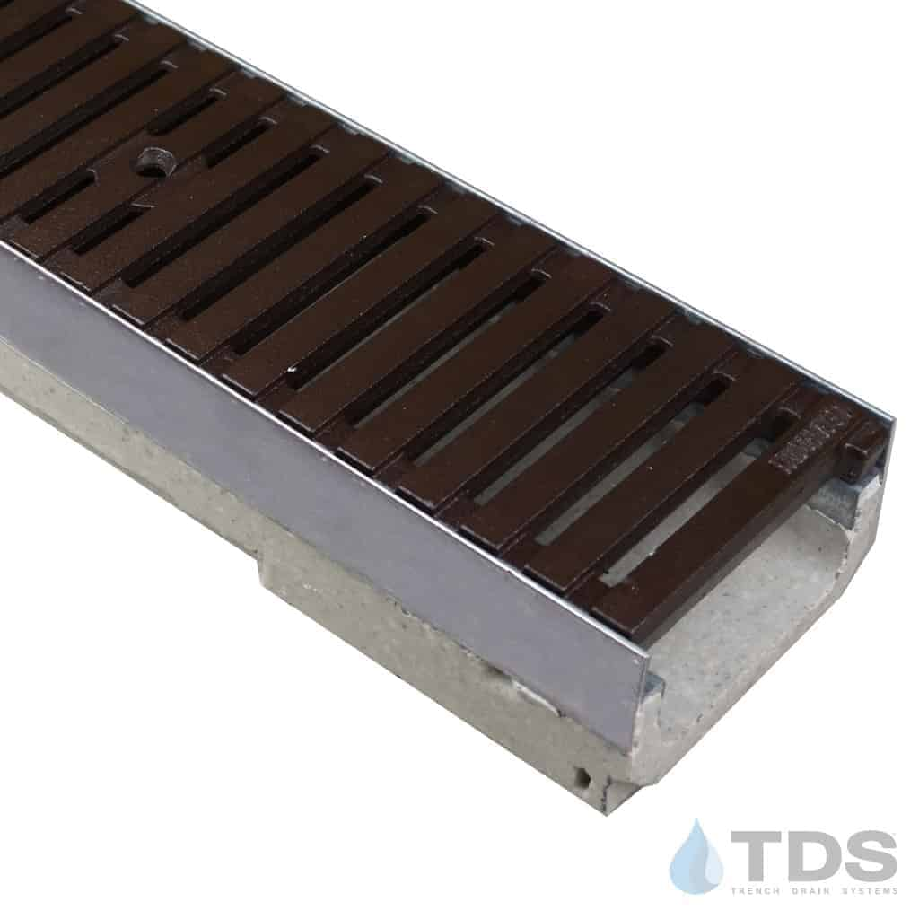 M100KX ULMA polymer concrete channel with stainless steel edge and Iron Age Baked on Oil Finish Cast Iron grate