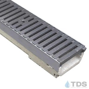 M100KX ULMA polymer concrete channel with stainless steel edge and Iron Age Raw Cast Iron grate