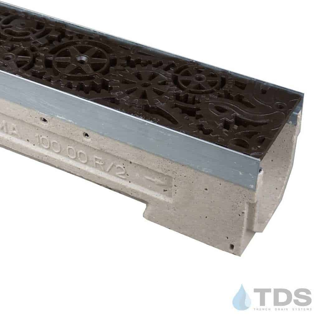U100K-Dynamo-boof cast iron deco ironage grate polymer concrete channel ULMA galv edge