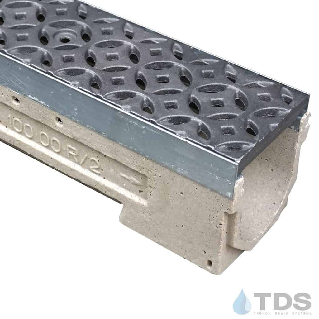 U100K00M-Interlaken Iron age deco cast iron raw grate polymer concrete galv edge ULMA channel