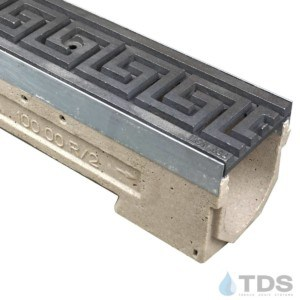 U100KM-GreekKey Iron Age Cast Iron Deco Raw grate polymer concrete galv edge ULMA channel